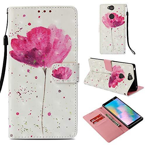 Ooboom Sony Xperia XA2 Plus Hülle 3D Flip PU Leder Schutzhülle Stand Handy Tasche Brieftasche Wallet Hülle Cover für Sony Xperia XA2 Plus - Blume Lila
