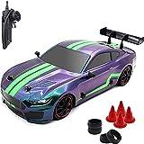 Nsddm 1/16 Mustang Model RC Car, 4 × 4 Super GT Dirft Racing Car con DIRIGIÓ Kit de luz con 2 neumáticos de batería y Dirt, Velocidad Superior 30km / h RC camión, Control Remoto de 2.4GHz. RTR