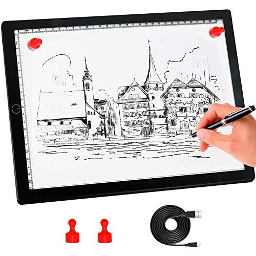 A4 Light Board,Portable Tracing Light Box,Magnetic Drawing Board, Light Drawing Board,Light Box for...