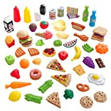 KidKraft 65-Piece Plastic Play Food Set for Play Kitchens, Fruits, Veggies, Sweets, Drinks and More, Gift for Ages 3+