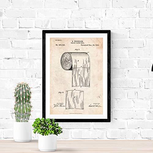 Nacnic Vintage Toilettenpapier Patent Poster. Vintage Stil Wanddekoration Abbildung von Haushalt und Badezimmer. Verschiedene geometrische Alte Erfindungen Bilder ohne Rahmen. Größe A3.