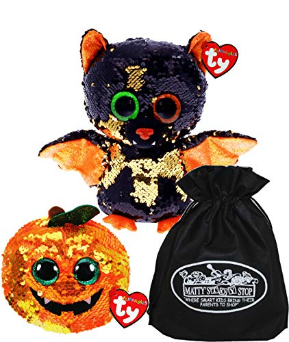 TY Beanie Boos Flippables Reversible Sequin Halloween Omen & Seeds Gift Set Bundle with Matty's Toy Stop Storage Bag - 2 Pack