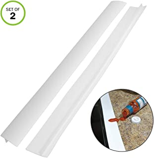 Evelots Stove Counter Gap Filler-Silicone-Spill-Crumb Guard-Washer-White-Set/2