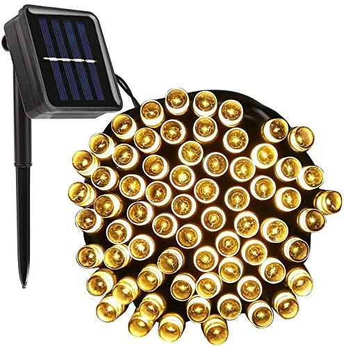 Cadena de Luces Solares para Exterior, Vegena 12 m 100 Led Guirnaldas Luces Exterior Solar 8 Modos IP65 para Jardín, Fiesta, Boda, Pabellón y Navidad Blanco Cálido