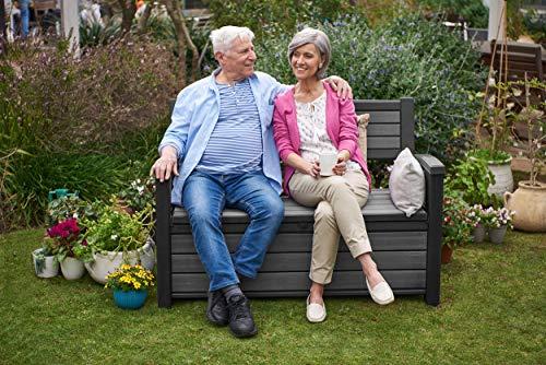Koll Living Garden Gartenbank mit 227 Liter Stauraum (LxBxH): 132,7 x 62,1 x 89 cm - einzigartige Holzoptik - Inhalt bleibt trocken & belüftet - 8