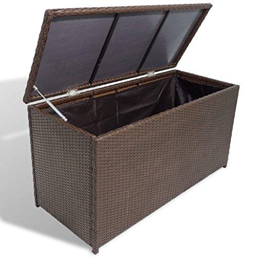 Lingjiushopping Coffre de jardin en poly rotin Marron Couleur : Marron Dimensions : 120 x 50 x 60 cm (L x l x H)