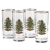 Spode Christmas Tree 15 Ounce Highball Glasses, Set of 4