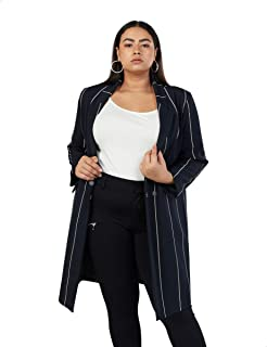Splash Striped Front Buttons Long Sleeves Polyester Open Jacket for Women