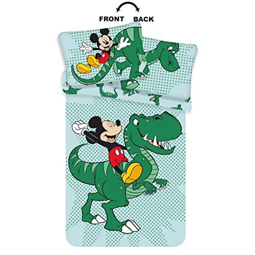 Funda Nórdica Mickey Mouse - Funda Nórdica Disney Infantil de Dinosaurios, para Edredón de Cama de 90, 100x135cm y Funda de Almohada 40x60cm, Color Verde