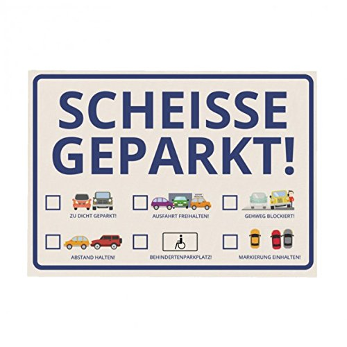 trendaffe Scheisse Geparkt! Comic Edition Notizblock für die Windschutzscheibe im 50er Set