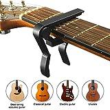 Gitarre Kapodaster Gitarre Capo Gitarren Capodaster Kapo für Akustische Gitarre Klassische Gitarre E-Gitarre Westerngitarre Bass Ukulele, Schwarz
