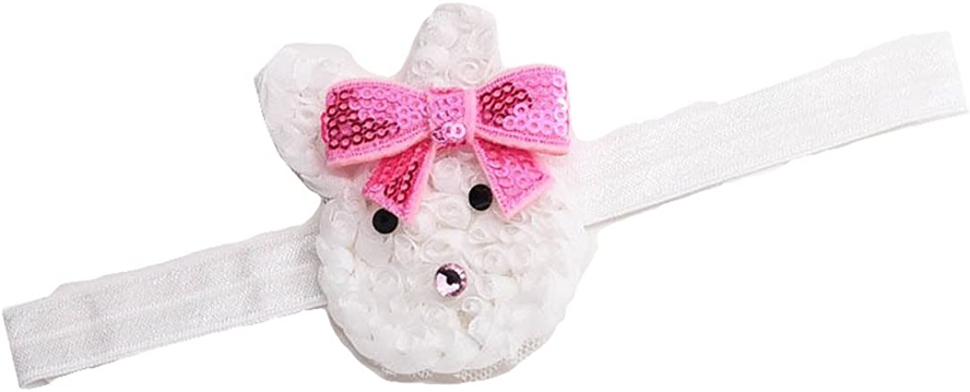 Baby Girls Headband Bunny Rabbit Ears with Satin Flowers for Easter Day Gift JHE02