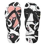 Linomo Chanclas de dedo para hombre y mujer, color rosa, con diseño de oso panda, sandalias informales, para verano, para la playa, color Multicolor, talla 38/39 EU