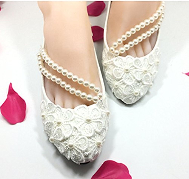 JINGXINSTORE Flach 4 cm 7.5cm Hellelfenbein Perlenkette Wohnungen Lace Wedding schuhe Bridal Gre 6-10