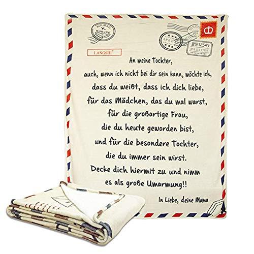 HXSD Personalisierte Flanell-Briefdecke An Meine Tochter, Mutter Für Töchter Luftpost Positiv Ermutigen Decke Decke Quiltdecke Werfen (150 * 200CM)