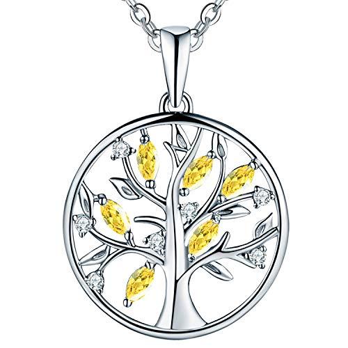 JO WISDOM Halskette Baum Des Lebens,kette anhaenger silber 925 baum des lebens Anhänger Halskette,Damen Schmuck,kette: 45-50CM (synthetischer Citrin)