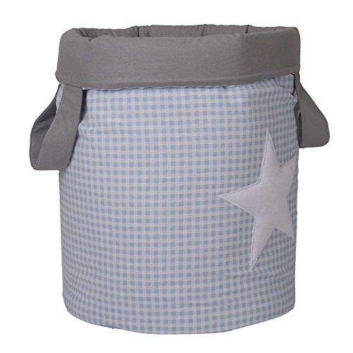 Funny Baby Vichy – Juguetero matelassé 30 x 40 cm, motif étoiles, couleur bleu