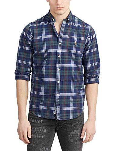 Camisa Ralph Lauren Oxford Custom Fit Cuadros Marino Hombre S Azul