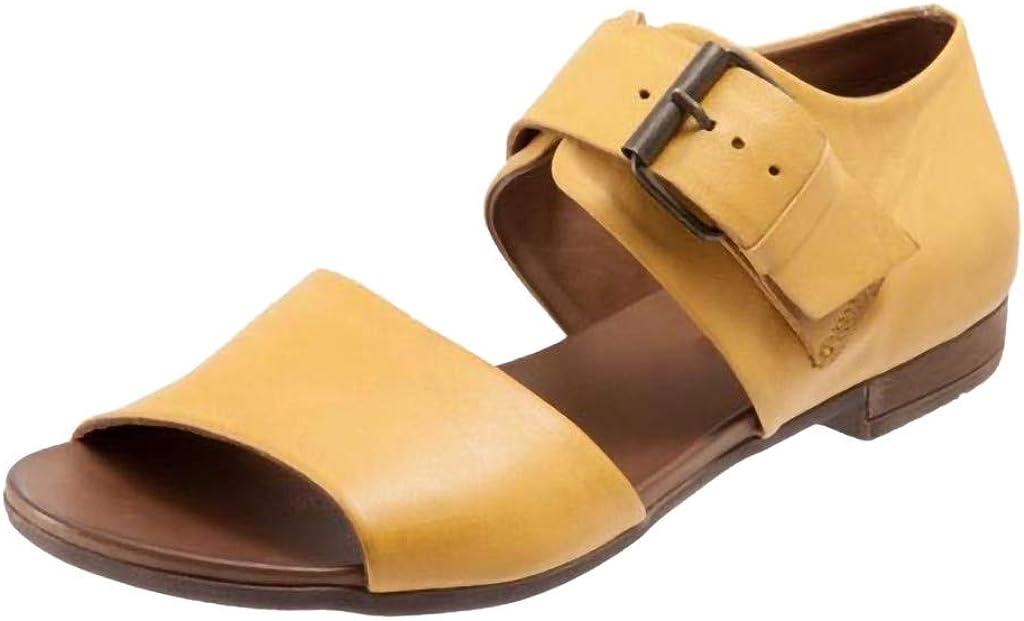 Memela Clearance sale Womens Sandals Flat Shoes Lucy Pointed-Toe Belt Buckle Sandals Flat Bottom Roman Ladies Shoe