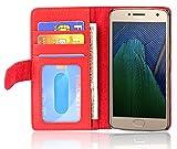 Cadorabo Hülle für Motorola Moto G5 Plus in Inferno ROT – Handyhülle mit Magnetverschluss & 3 Kartenfächern – Hülle Cover Schutzhülle Etui Tasche Book Klapp Style