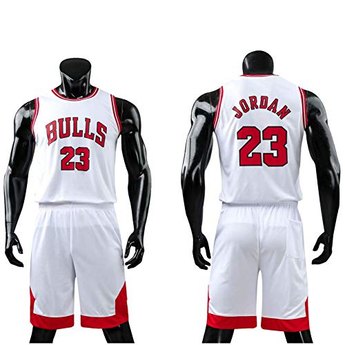 Daoseng Kinder Junge Herren NBA Michael Jordan # 23 Chicago Bulls Retro Basketball Shorts Sommer Trikots Basketballuniform Top & Shorts Basketball Anzug (Weiß, L/Erwachsene Höhe 160-165CM)