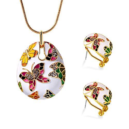 LLYY Schmuckset Schmuck-Sets, Damen Set Bunte/Halskette Armband Schmetterlings-Ohrring Handgefertigte Emaille für Frauen-Elegante Hängendes Jewellery Set(Gold),A