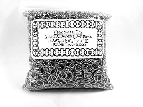 1 Pound Bright Aluminum Chainmail Jump Rings 16G 5/16 ID (3000+ Rings!)