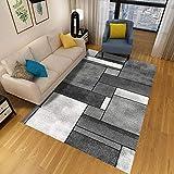Alfonbras Partículas Antideslizantes De Plástico sin desvanecimiento Sitting Roomes Carpet alfombra salon fácil de cuidar Rug Con aspecto de mosaico, pelo corto negro gris blanco jarapas 200X280cm