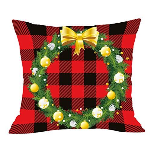 LSAltd Weihnachten Kissenbezug, Weihnachtsglocke Print Kissenhülle Taille Wurf Kopfkissenbezug für Zuhause und Sofa, Weihnachten Schlafzimmer Sofa Auto Dekoration 45x45cm