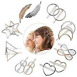 JOYUE Pinces à Cheveux en Métal, 16 Pièces Mode Barretes à Cheveux Plume Lune Etoile Coeur, Épingles à Cheveux Géométrique Minimaliste Cercle Triangle Infini pour Femmes Filles Accessoires de Cheveux