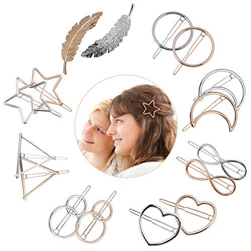 JOYUE 16 Stück Metall Haarklammern Haar Pin Spangen, Mode Feder Moon Stern Herzen Haarspangen, Einfache Stil Geometrische Kreis Dreieck Infinity Haarnadeln, Süße Haarschmuck für Mädchen Haarstyling