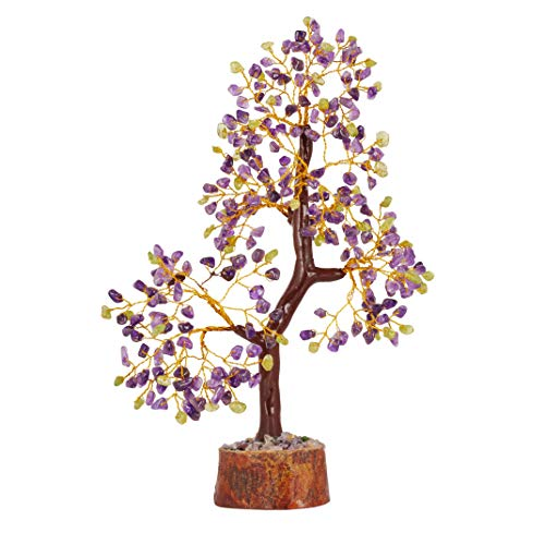 PYOR Peridot and Amethyst Bonsai Money Tree Reiki Healing Aura Crystal Cleansing Fortune Gemstone Good Luck Decor Charged Faceted Spiritual Gift 10-12 Inch Golden Wire