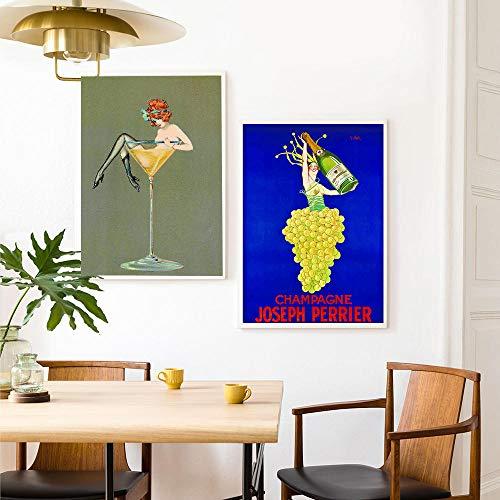 zuomo Champagne Joseph Perrier Wall Art Pictures Cerveza Bebidas alcohólicas Cartel de Vino Vintage Martini Girl Lienzo Pintura Decoración para el hogar 50x70cm Sin Marco