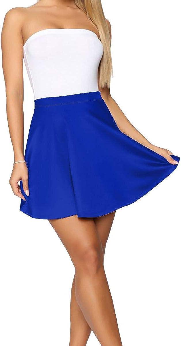 TJNMU Purple Women Waist Flared Mini Skater Skirt Casual Pleated Skirts Dance Active-969
