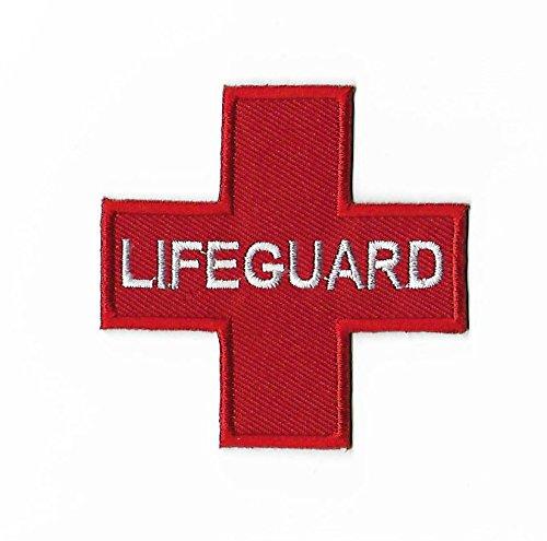badge patch (7,5 cm) DIY geborduurd ijzer of naai op badge rood kruis Applique zwembad paramedische fancy jurk kostuum zwemmen instructeur Life Guard