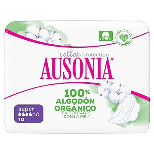 Ausonia Cotton Protection Super (tamaño 2) Compresas Con Alas, 10, Capa Superior De Algodón 100% Orgánico