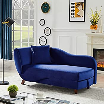 COODENKEY Storage Chaise Lounge Indoor Upholstered Sofa Recliner Chair with 2 Pillows for Living Room Bedroom Velvet Blue