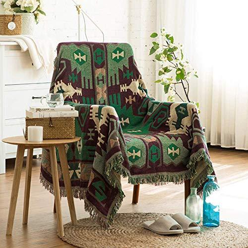 WENYAO Toalla de sofá mezclada, Funda de sofá con Todo Incluido, Cojín de sofá de Tela Funda de sofá con diseño Abstracto geométrico Verde Funda de Manta de algodón Universal Four Seasons, 230x275