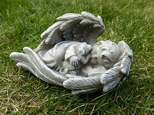 Home3010 *Engel im Flügel mit kleinem Hund/Grabschmuck Grabdeko hell-grau-antik, 14 x 8 cm