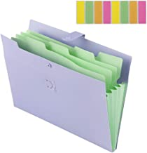 File Folders Organizer, Sooez 5-Pockets Accordion Expanding Paper A4 Letter Size Document File Folder Organizer with Snap Closure and Colored Labels for School College Office and Home (01-Purple)