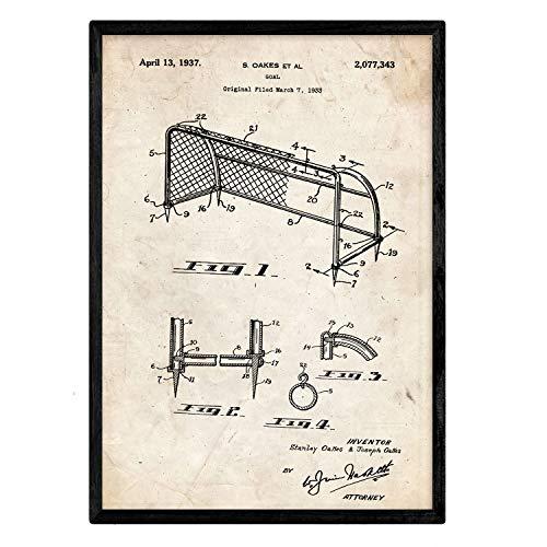 Nacnic Poster con patente de Porteria de futbol. Lámina con diseño de patente antigua en tamaño A3 y con fondo vintage