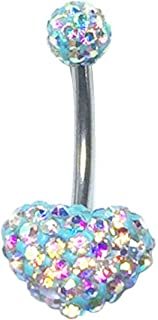 Surgical steel Navel Belly Button Ring Barbell Rhinestone Crystal Heart Piercing   Color - Aqua AB