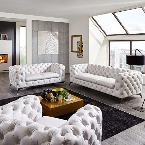 Moebella Designer Leder Chesterfield Sofagarnitur 3-2-1 Big-Emma weiß Voll-Leder Echtleder Knöpfung Modern Lounge-Möbel Couches