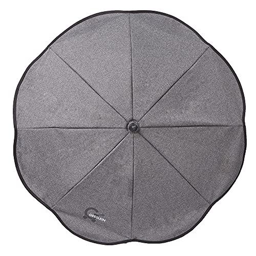 Gesslein Sonnenschirm Design 703 mit Universalhalterung von, Sonnenschutz für Kinderwagen & Buggys│70cm Durchmesser, biegsam, 3-fach verstellbar, für Rund- und Ovalrohre, grau meliert