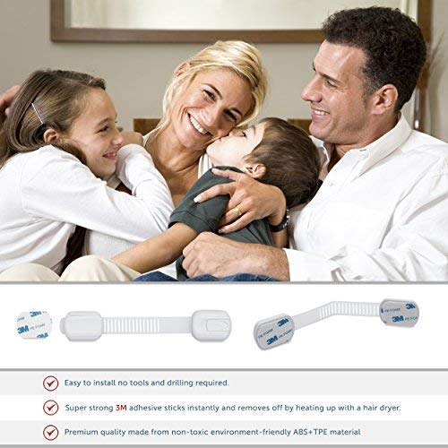 CUTESAFETY Child Proof Safety Locks - Baby Proofing Cabinet Lock with 6 Extra 3M Adhesives - Adjustable Strap Latches to Cabinets,Drawers,Cupboard,Oven,Fridge,Closet Seat,Door,Window (White, 6)