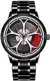 ZFAYFMA Rueda de Hombres Reloj, muñeca Moda Barato Cuarzo Hueco Impermeable Reloj Deportes Creativo Coche Lado Deportes al Aire Libre clásico Lujo Acero Inoxidable Silver