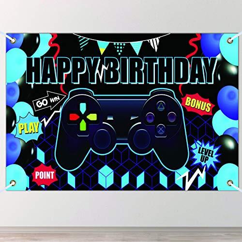 Forniture Festa di Videogiochi Banner, EBANKU Happy Birthday Game on Sfondo Festa di Compleanno, Segno di Benvenuto Fondale Pixelato Segno di Giochi per Videogiochi Muro Foto Tovaglia(blu)
