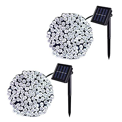 JMEXSUSS 2 Pack Solar String Light 200LED 75.5ft 8 Modes Solar Christmas Lights Waterproof for Gardens, Wedding, Party, Homes, Christmas Tree, Curtains, Outdoors (200LED-White-2Pack)
