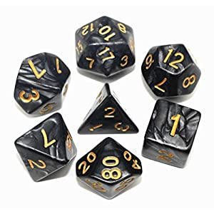HD Dice Set RPG Pearl Polyhedral Dice for Dungeons and Dragons DND Pathfinder Table Games 7 Dice Set
