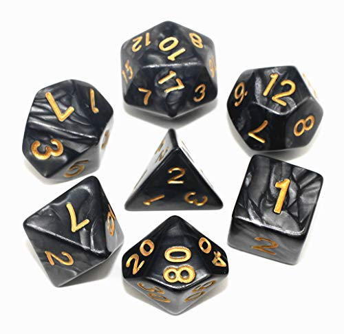 HD Dice Set RPG Pearl Polyhedral Dice for Dungeons and Dragons DND Pathfinder Table Games 7 Dice Set 3